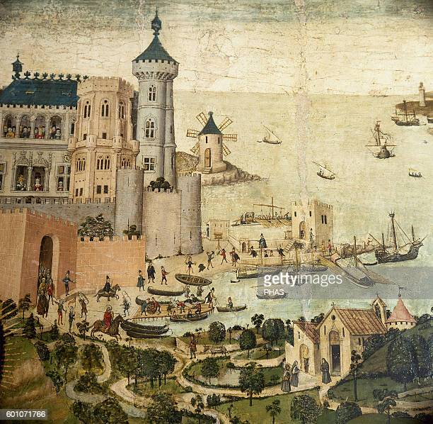 Gothic Altarpiece of Sant Jordi by Pere Nicart Detail Palma's Port 15th century Diocesan Museum Palma Mallorja Balearic Islands Spain