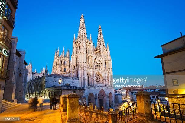 gothic architecture in burgos city. - burgos stock-fotos und bilder