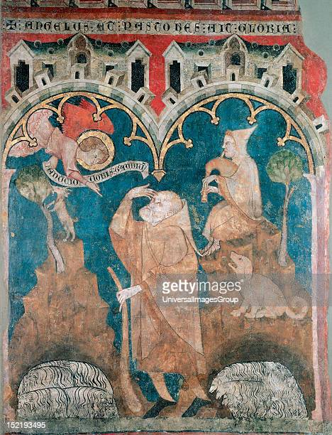 Gothic art 14th Century Annunciation to the Shepherds Chapel of the Church of St Peter of Olite Museum of Navarre Pamplona Spain