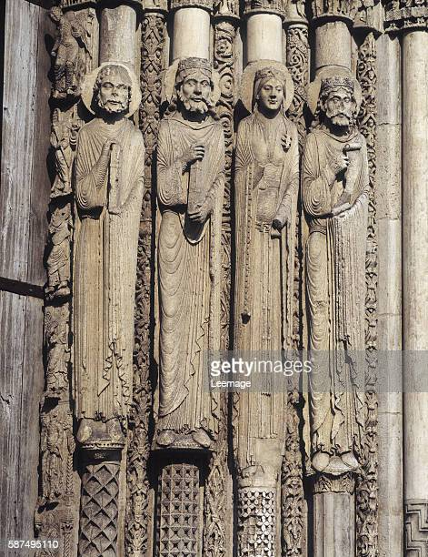 detail of the sculptures of the west facade figures of the Bible king David King Solomon the Queen of Sheba and a prophet Cathedral of NotreDame of...