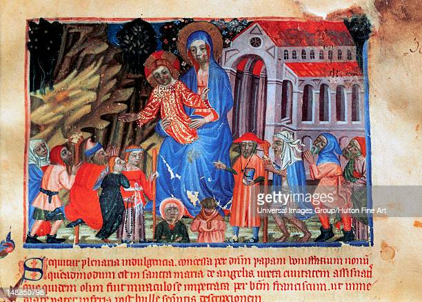 Gothic art Spain 14th and 15th centuries Red Book Miniature depicting the Virgin and Child basilica and pilgrims Library of the Monastery of...