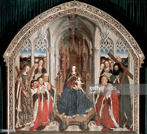 Gothic Art Spain Lluis Dalmau Virgin of the Consellers It depicts the five councilors of the city of Barcelona in adoration Oil on oak wood National...