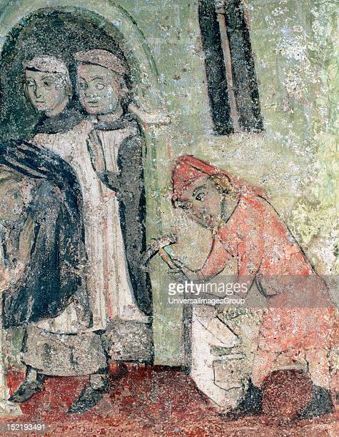 Gothic art Stonemason with some monks c Wall paintings found in 1954 under the choir of the Church of Santa Maria de Lluˆ Anonymous painting Details...