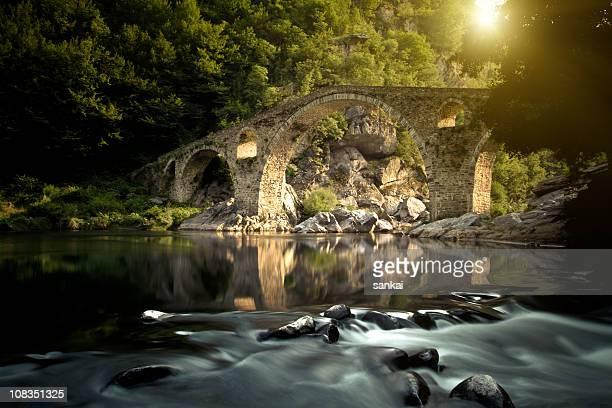 Gothic bridge over river