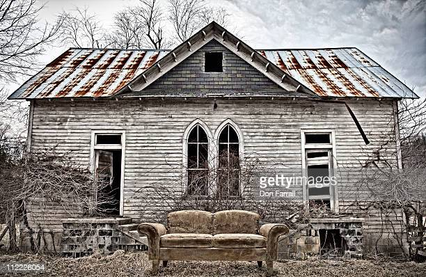 Gothic Building with Old Couch