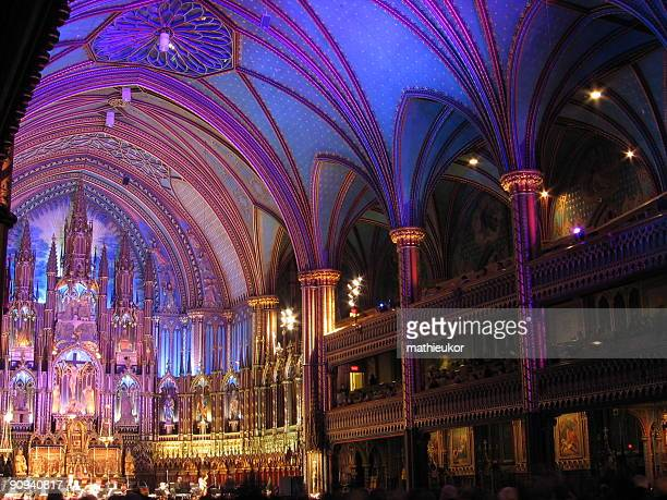 gothic church interior - notre dame de montreal stock photos and pictures
