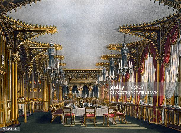 Gothic dining room engraving by Thomas Sutherland based on a design by Charles Wild from The History of the Royal Residences 18161819 Volume III...