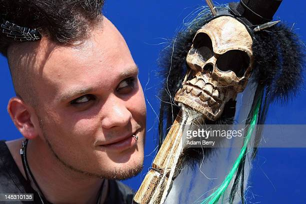 Gothic enthusiast poses during the annual WaveGotikTreffen music festival on May 26 2012 in Leipzig Germany The event began in the 1990s and has...