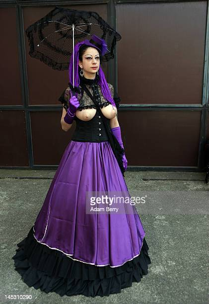 A Gothic enthusiast poses during the annual WaveGotikTreffen music festival on May 26 2012 in Leipzig Germany The event began in the 1990s and has...
