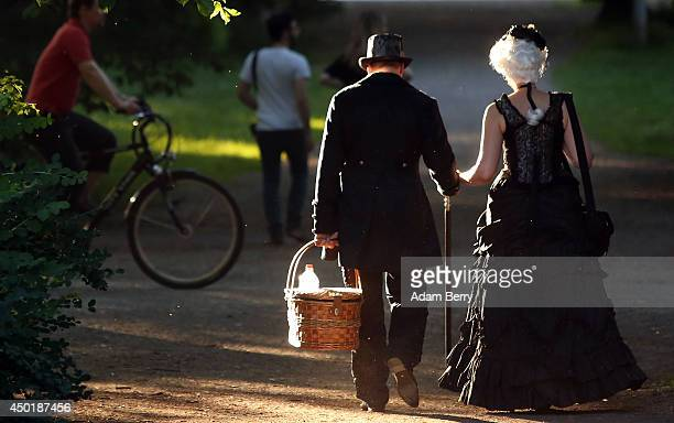 Gothic enthusiasts attend the annual WaveGotikTreffen music festival on June 6 2014 in Leipzig Germany The event began in the 1990s and has since...