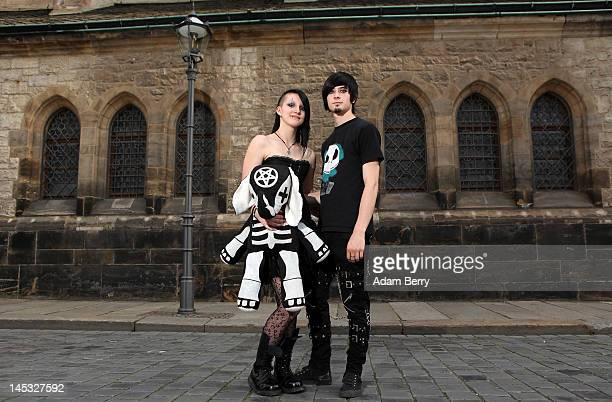 Gothic enthusiasts pose during the annual WaveGotikTreffen music festival on May 26 2012 in Leipzig Germany The event began in the 1990s and has...