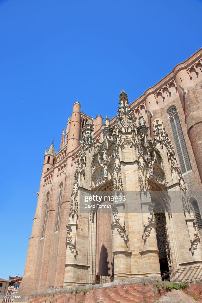 Gothic exterior part of Albi Cathedral, Tarn, France. : Stock Photo