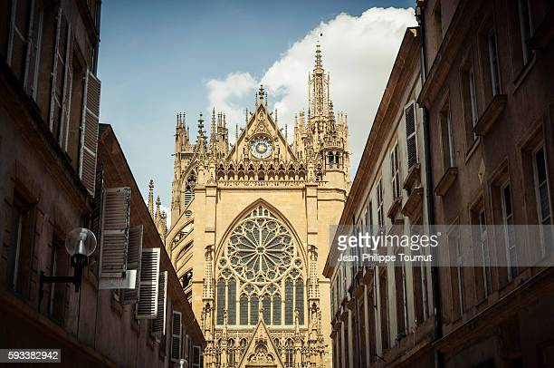 Gothic facade of Metz Cathedral from a nearby street in Metz, France