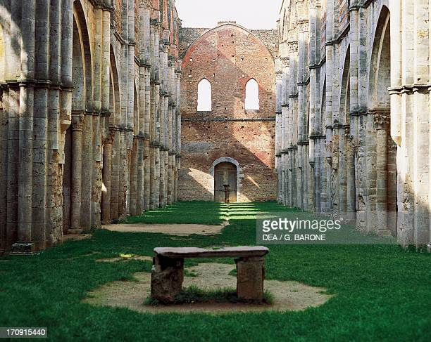 Gothic interior of the abbey of San Galgano Chiusino Tuscany Italy
