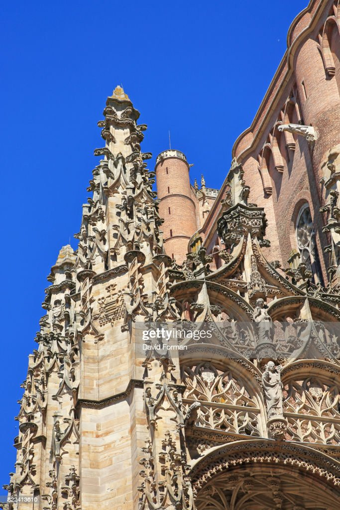 Gothic part Of Albi cathedral + bell-tower, Albi, Tarn. France. : Stock Photo