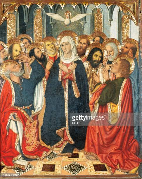 Gothic period Table of Pentecost From the Altarpiece of Constable of Portugal Paint on wood By Jaume Huguet XV Century Royal Chapel of Santa Agata...