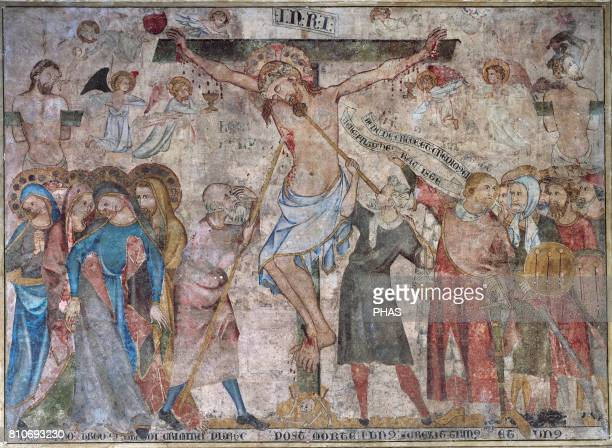 Gothic period XIV century Crucifixion by Juan Oliver Painter active in Navarra during the 14th century Detail of the big wall painting that...
