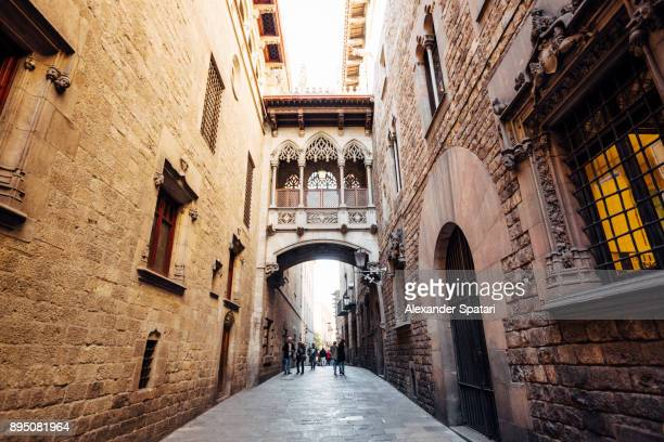gothic quarter (barri gotic) in barcelona, catalonia, spain - barcelona spain stock photos and pictures