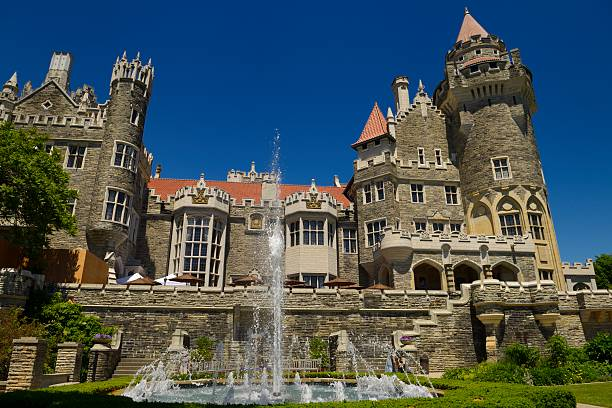Gothic Revival Architecture Of Casa Loma Castle In Toronto With Garden Fountain