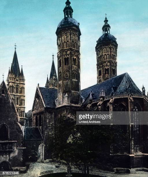 Gothic St Mary's church and the cathedral of Naumburg at river Saale Thuringia 1920s
