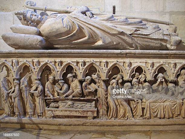 Gothic tomb of Bishop Gonzalo de Hinojosa, located in the chapel of San Gregorio in the cathedral of Burgos, UNESCO World Heritage Site, Castile and...