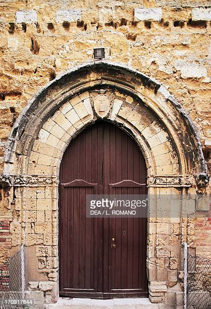 GothicCatalan style entrance to the Church of St Mary of the Greeks Agrigento Sicily Italy