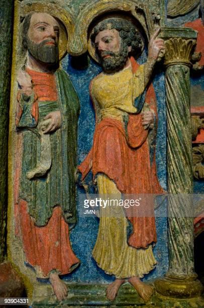 GothicRomanesque detail of San Vicente's cenotaph in the Romanesque basilica of San Vicente Avila Autonomous Community of CastileLeon Spain April 2008