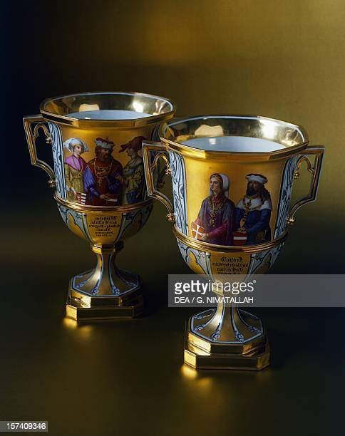 Gothicstyle dessert cups made for the Imperial Castle of Laxenburg 18211824 ceramic Austria 19th century Vienna Hofsilber Und Tafelkammer