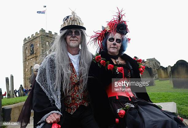 Goths take a seat during the Goth weekend on April 26 2014 in Whitby England The Whitby Goth weekend began in 1994 and happens twice each year...