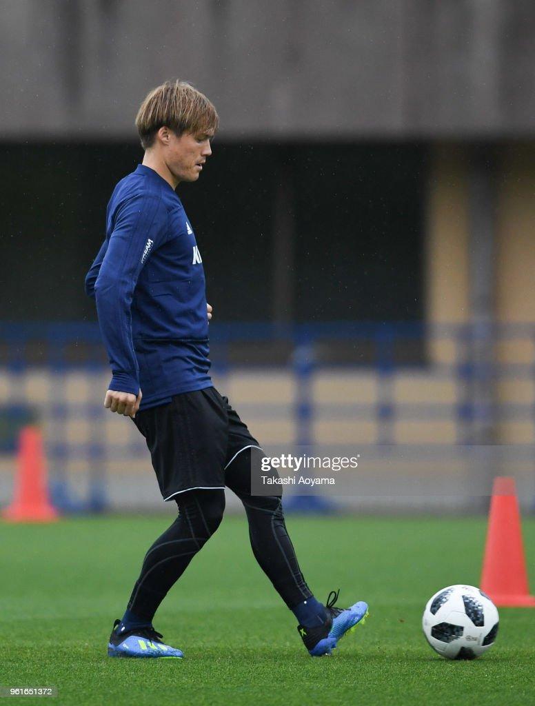 Gotoku Sakai in action during a Japan training session at Akitsu Football Field on May 23, 2018 in Narashino, Chiba, Japan.
