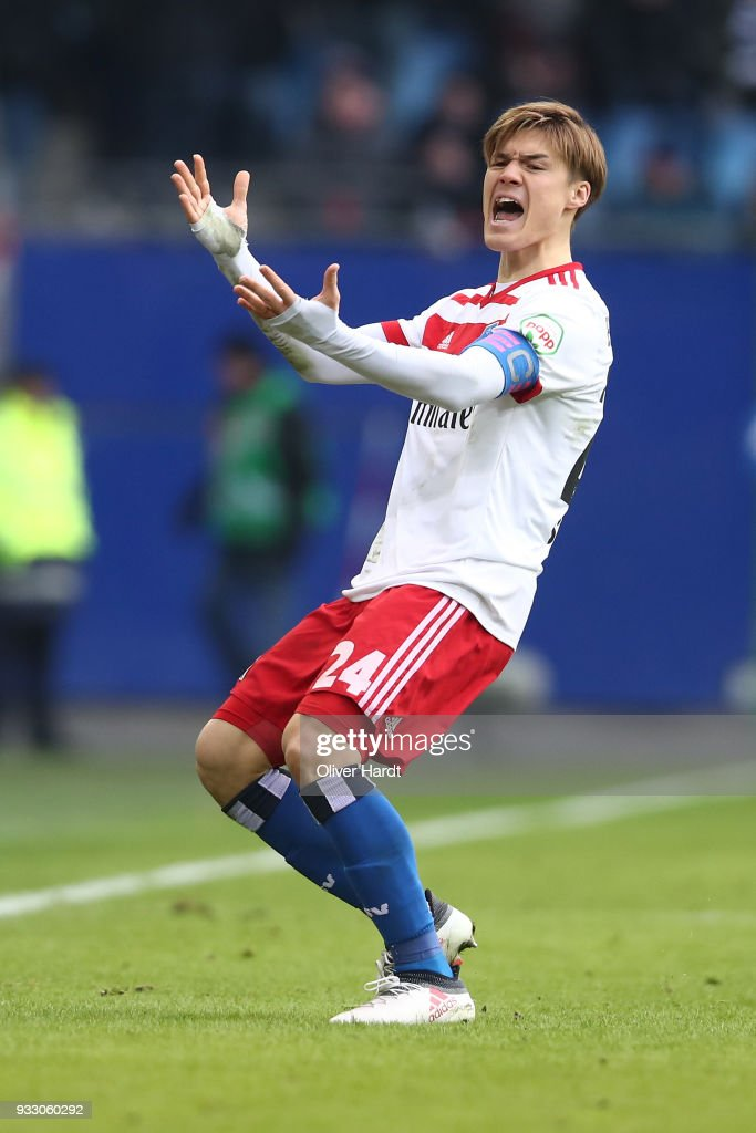 Gotoku Sakai of Hamburg appears frustrated during the Bundesliga match between Hamburger SV and Hertha BSC at Volksparkstadion on March 17, 2018 in Hamburg, Germany.