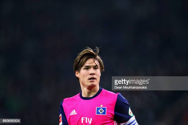 Gotoku Sakai of Hamburg in action during the Bundesliga match between Borussia Moenchengladbach and Hamburger SV at BorussiaPark on December 15 2017...