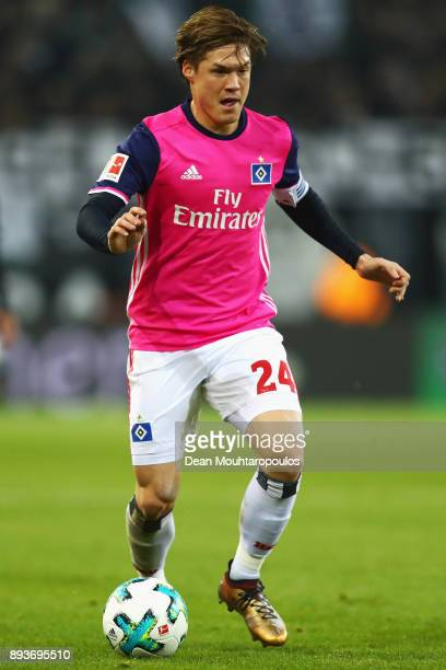 Gotoku Sakai of Hamburg in action during the Bundesliga match between Borussia Moenchengladbach and Hamburger SV at BorussiaPark on December 15 2017...