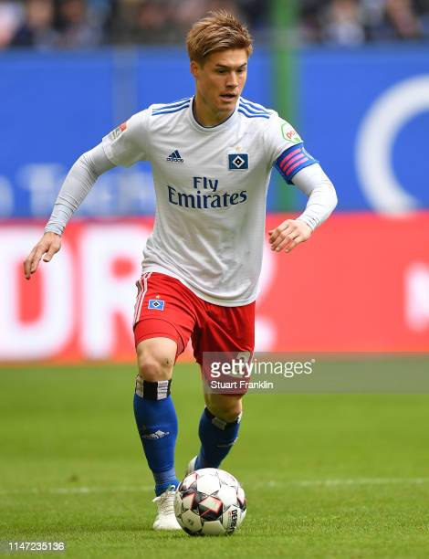 Gotoku Sakai of Hamburg in action during the Second Bundesliga match between Hamburger SV and FC Ingolstadt 04 at Volksparkstadion on May 04 2019 in...