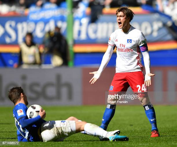 Gotoku Sakai of Hamburg reacts during the Bundesliga match between Hamburger SV and SV Darmstadt 98 at Volksparkstadion on April 22 2017 in Hamburg...
