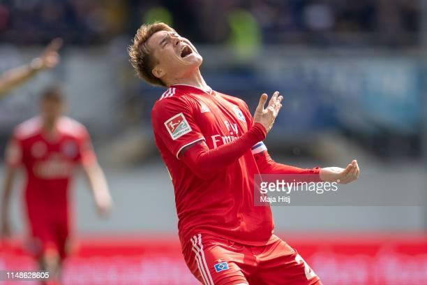 Gotoku Sakai of Hamburg reacts during the Second Bundesliga match between SC Paderborn 07 and Hamburger SV at Benteler Arena on May 12 2019 in...
