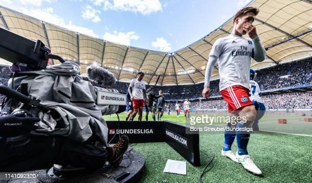 Gotoku Sakai of Hamburger SV leaves the pitch for half time during the Second Bundesliga match between Hamburger SV and FC Ingolstadt at...