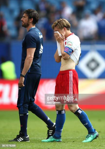 Gotoku Sakai of Hamburger SV looks dejected after the Bundesliga match between Hamburger SV and Borussia Moenchengladbach at Volksparkstadion on May...