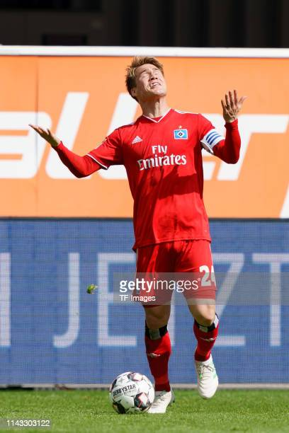 Gotoku Sakai of Hamburger SV looks on during the Second Bundesliga match between SC Paderborn 07 and Hamburger SV at Benteler Arena on May 12 2019 in...
