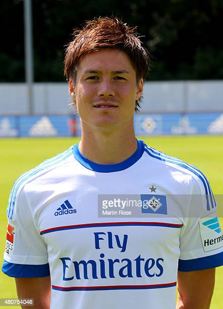 Gotoku Sakai of Hamburger SV poses during the team presentation of Hamburger SV at Volksparkstadion on July 15 2015 in Hamburg Germany