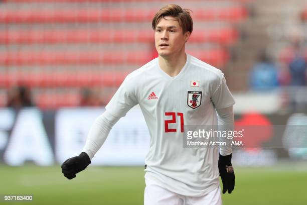 Gotoku Sakai of Japan during the International friendly match between Japan and Mali at the Stade de Sclessin on March 23 2018 in Liege Belgium