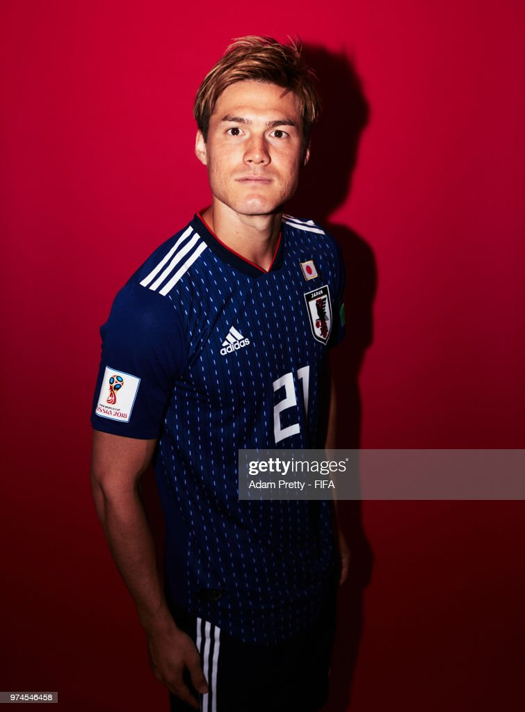 Gotoku Sakai of Japan poses for a portrait during the official FIFA World Cup 2018 portrait session at the FC Rubin Training Grounds on June 14, 2018 in Kazan, Russia.