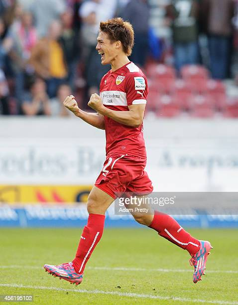 Gotoku Sakai of Stuttgart celebrates victory after the Bundesliga match between VfB Stuttgart and Hannover 96 at MercedesBenz Arena on September 27...