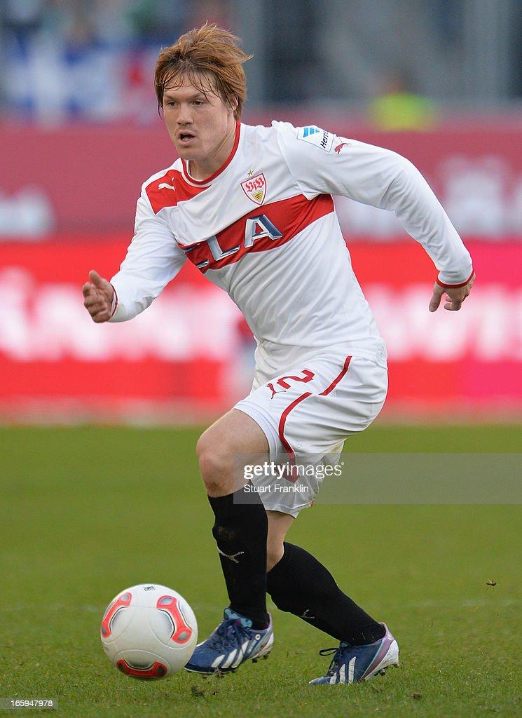 Gotoku Sakai of Stuttgart in action during the Bundesliga match between Hannover 96 v VfB Stuttgart at AWD Arena on April 7, 2013 in Hannover, Germany.