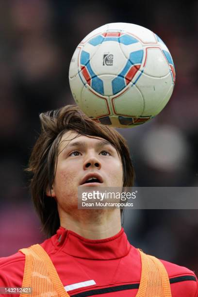 Gotoku Sakai of VfB warms up prior to the Bundesliga match between 1 FC Koeln and VfB Suttgart at RheinEnergieStadion on April 21 2012 in Cologne...