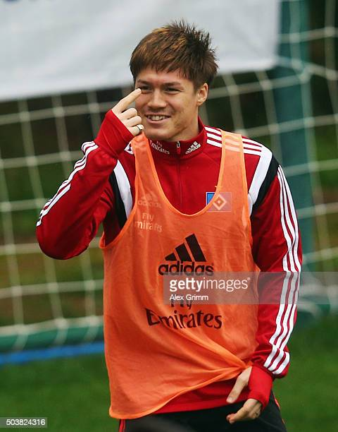 Gotoku Sakai reacts during a Hamburger SV training session in the rain on day 2 of the Bundesliga Belek training camps at Sueno Deluxe Hotel Sports...