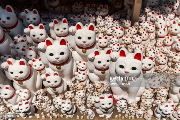 Gotokuji Temple if you love cats especially beckoning good look cats then Gotokuji will be paradise for you Maneki neko or beckoning good luck cats...