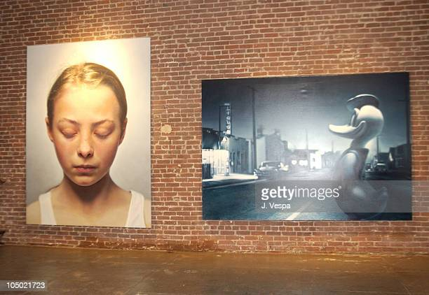 Gottfried Helnwein paintings during Traction 811 Gallery Group Show Hosted by Jason Lee Linear City and Red Stripe at Traction 811 Gallery in Los...