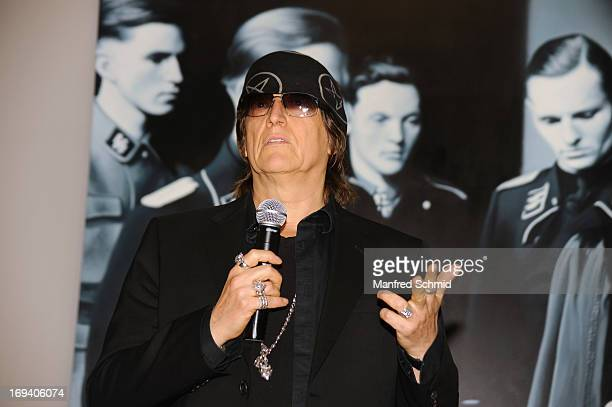 Gottfried Helnwein speaks to the audience during the press converence for Gottfried Helnwein Retrospective at Albertina on May 24 2013 in Vienna...