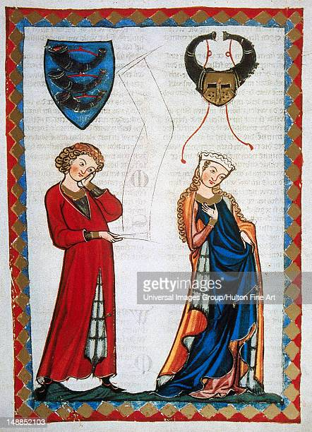 Gottfried Von Neifen poet of Henry VII and the Emperor Frederick II rejected by a married lady On the left the emblem of the poet Codex Manesse by...